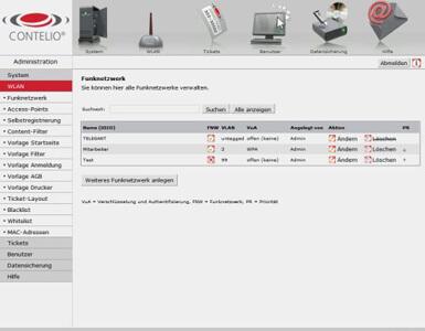 CONTELIO Funknetzwerk verwalten